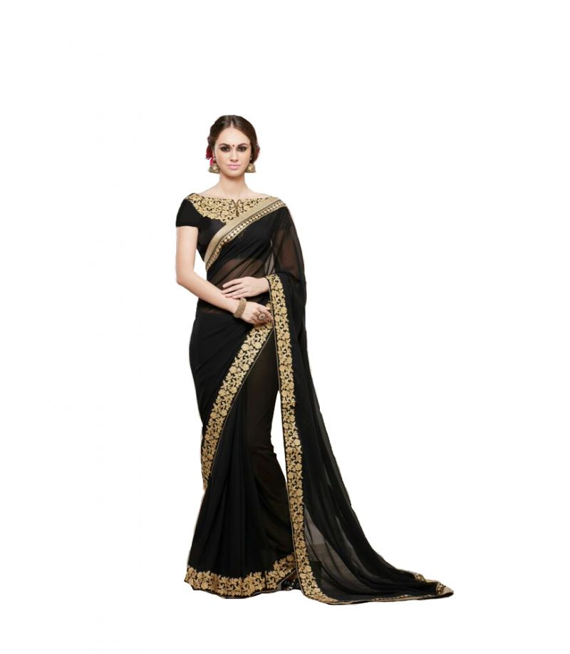 Buy Bhuwal Fashion Black Faux Georgette Embroidered Party Wear Saree With Blouse Pcs online