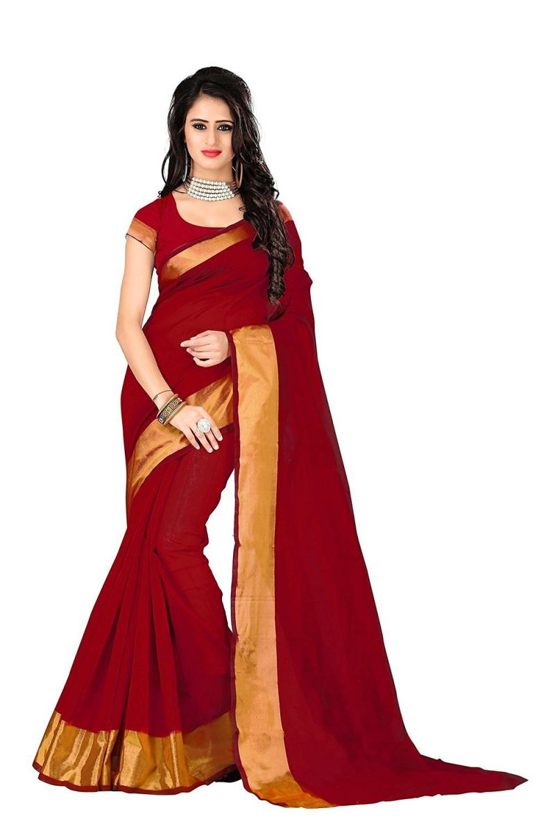 Buy Bhuwal Fashion Red Poly Cotton Silk Party Wear Saree With Blouse Pcs online