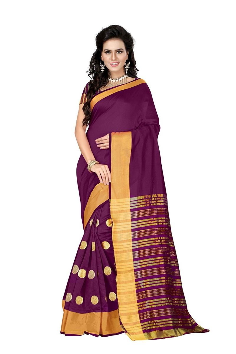 Buy Bhuwal Fashion Pink Poly Cotton Silk Embroidered Party Wear Saree With Blouse PCs Bfbf134pink online