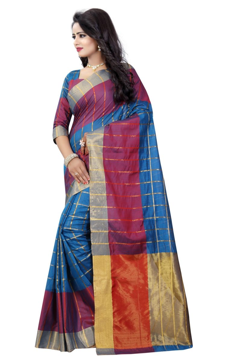 2449d60329 Buy Bhuwal Fashion Blue Cotton Silk Saree- Online | Best Prices in ...