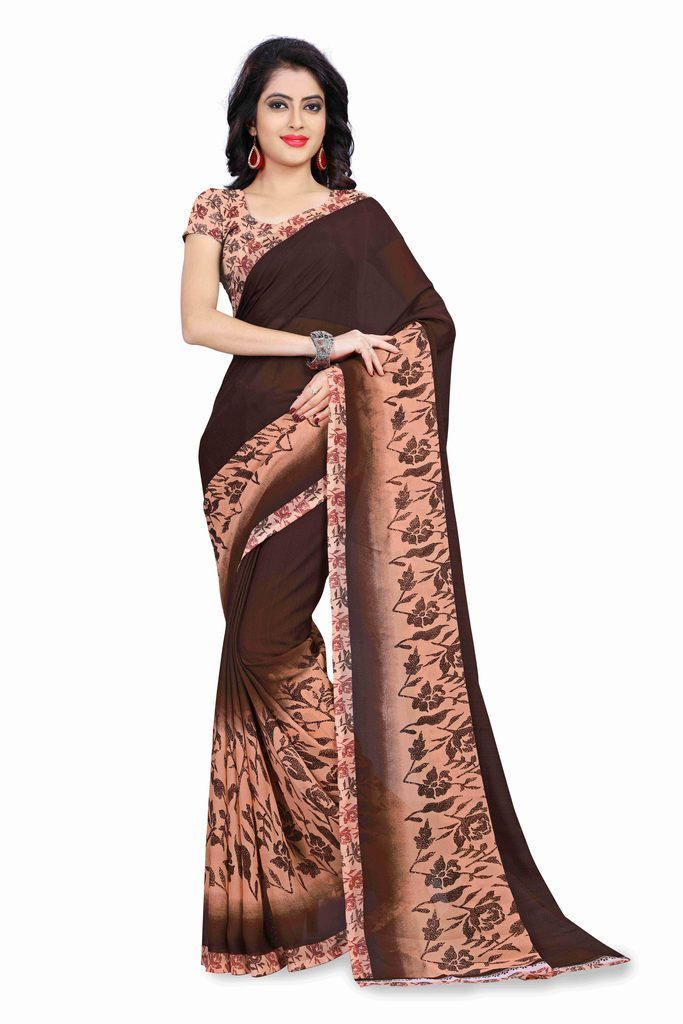 Buy Bhuwal Fashion Brown And Peach Georgette Printed Formal Saree (bfdna1184a) online