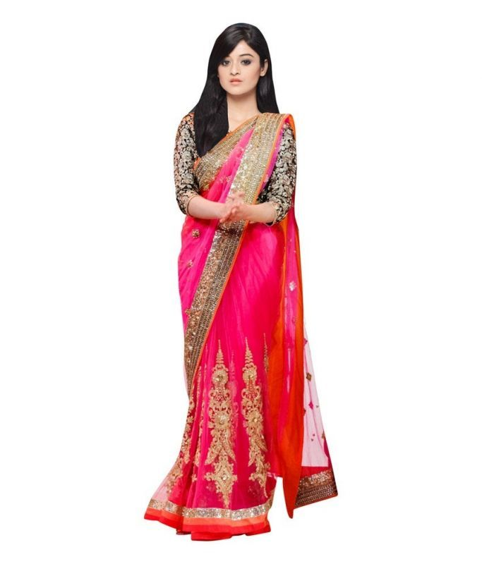 Buy Snv Fashion Pink & Black Net Bollywood Saree With Lace Bordered - Ladli online