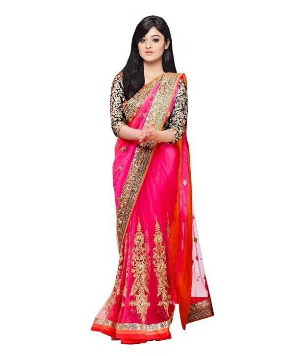 Buy Shopeezo Daily Wear Pink Color Chiffon Saree/sari online