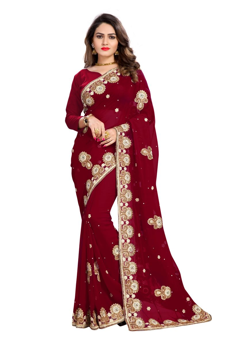Buy Bhuwal Fashion Brown Faux Georgette Party Wear Saree With Blouse PCs Bfmeghana32j online