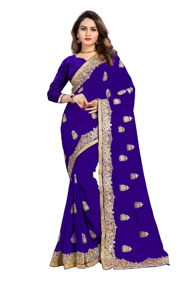 Buy Bhuwal Fashion Blue Faux Georgette Party Wear Saree With Blouse Pcs online