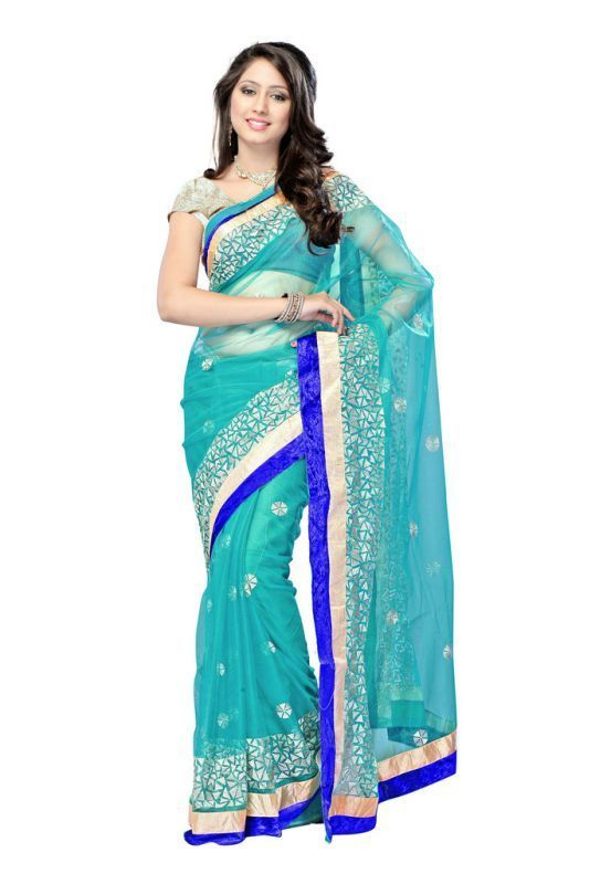 Buy Nilkanth Green Embroidered Net Designer Saree With Blouse - (product Code - Tm-005) online