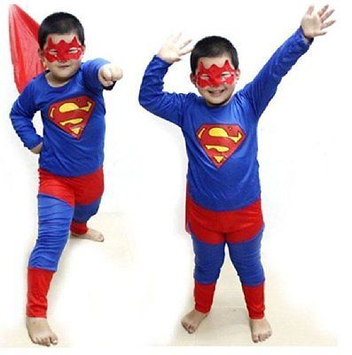 Buy Superman Big Costume Fancy Dress Suit & Eye Mask For Kids (5-7 Yr) online