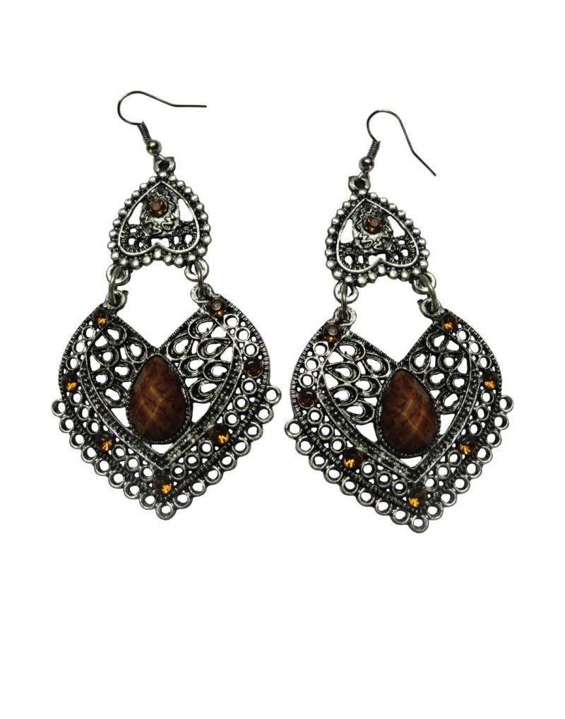 Buy Snoby Brown Heart Shape Danglers Sbyrsj_010 online