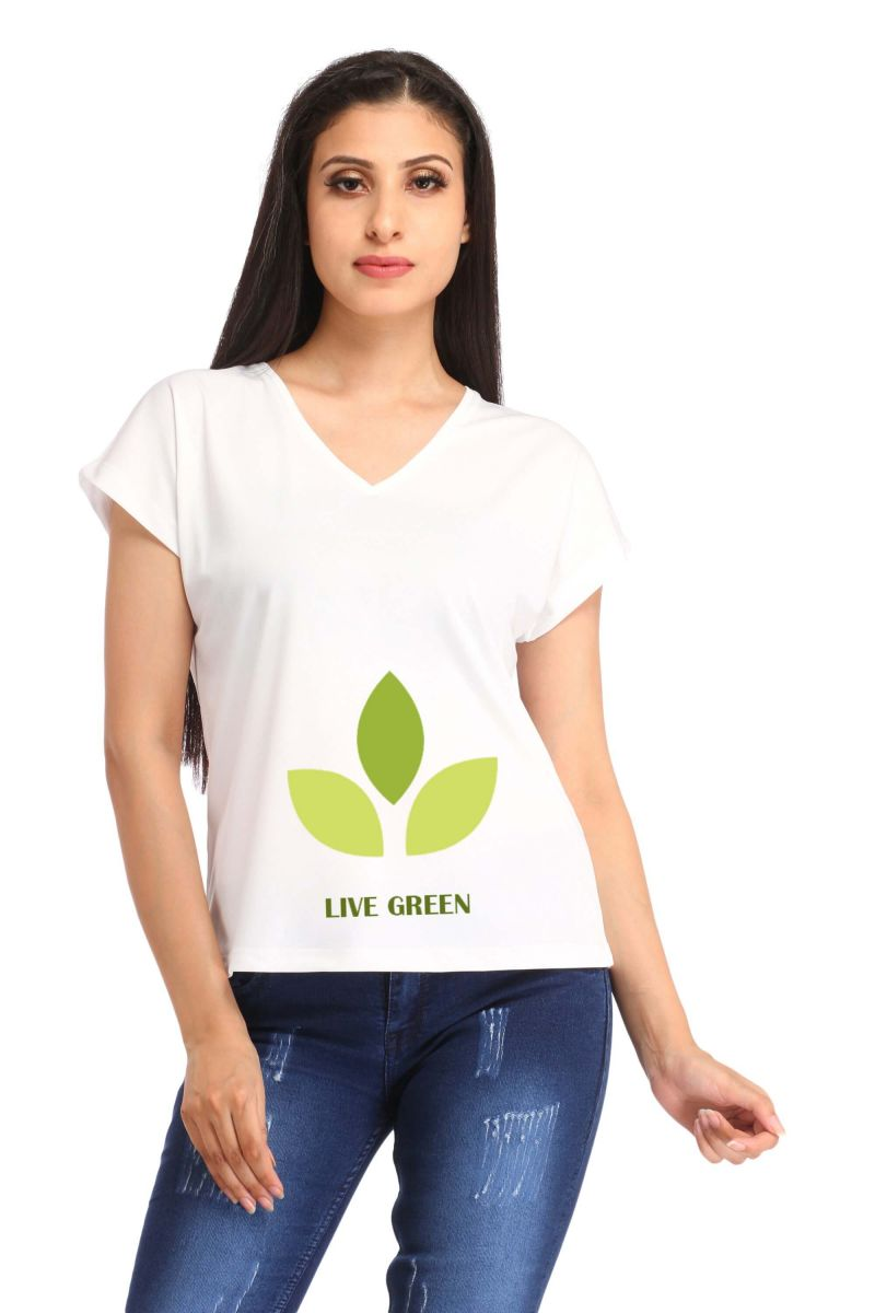Buy Snoby Live Green Print T Shirt (sbypt1445) online