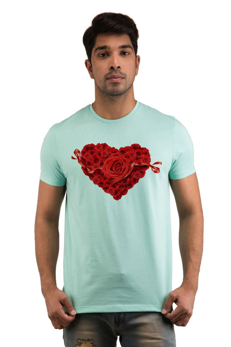 Buy Snoby Heart With Rose Printed T-Shirt online