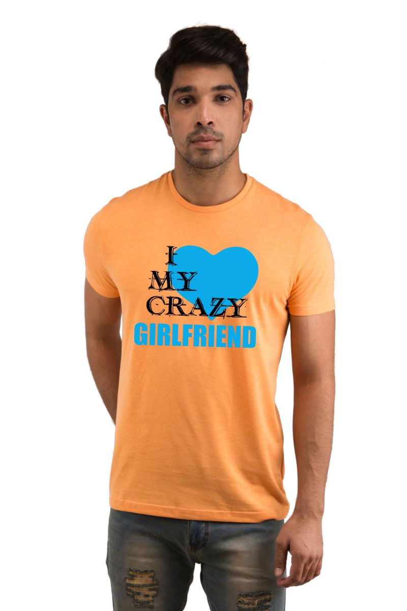 Buy Snoby I Love My Crazy Girlfriend Printed T-shirt(sby18041) online