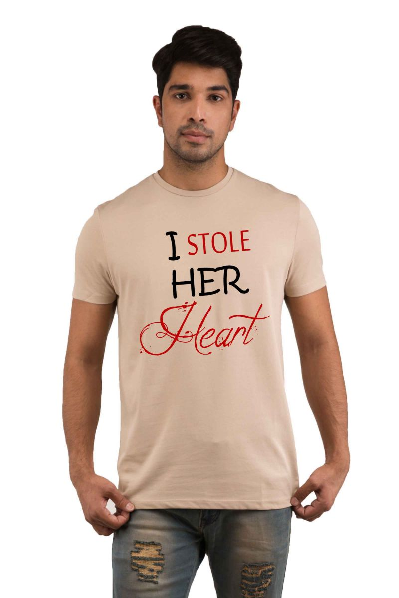 Buy Snoby Stealing Her Heart Printed T-shirt(sby18054) online