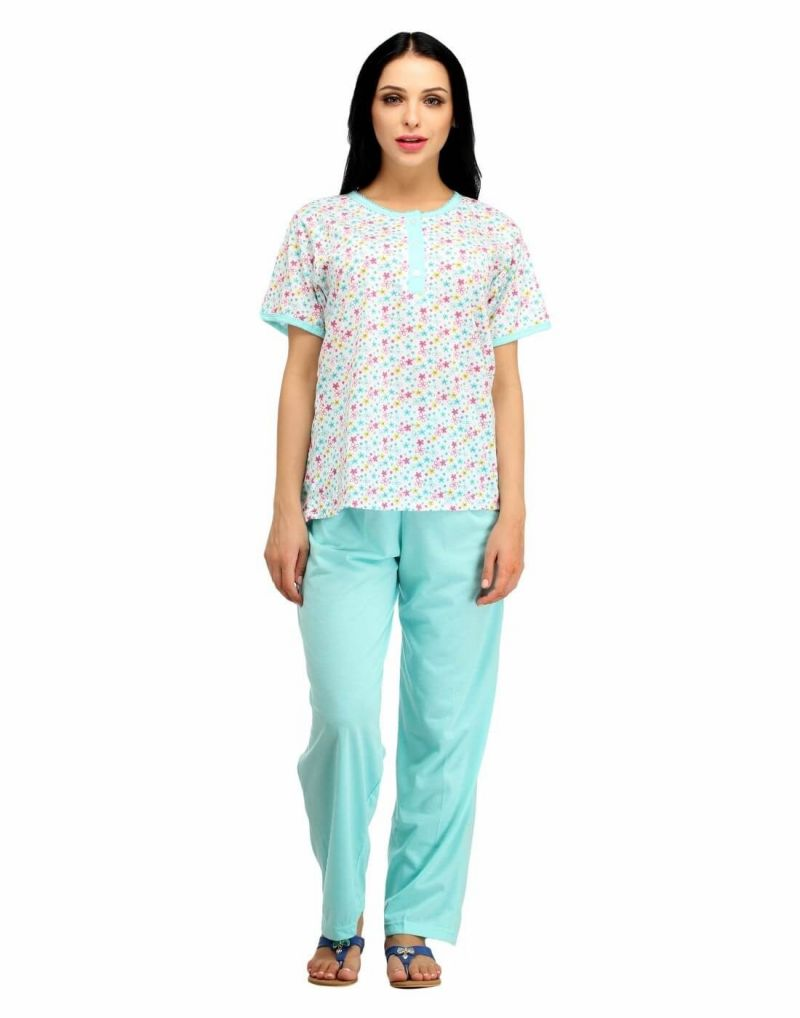 Buy Snoby Skyblue Printed Cotton Nightwear (sby5002) online