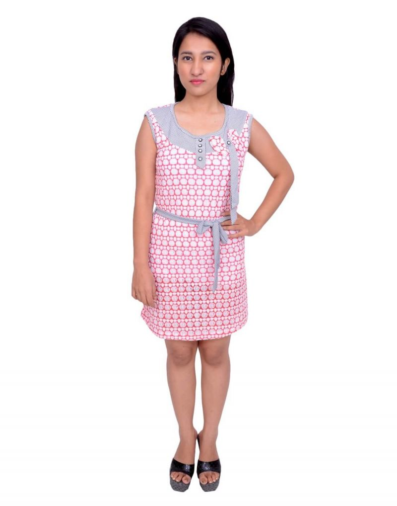 Buy Snoby Pink Cotton One Piece Dress (sby6032) online