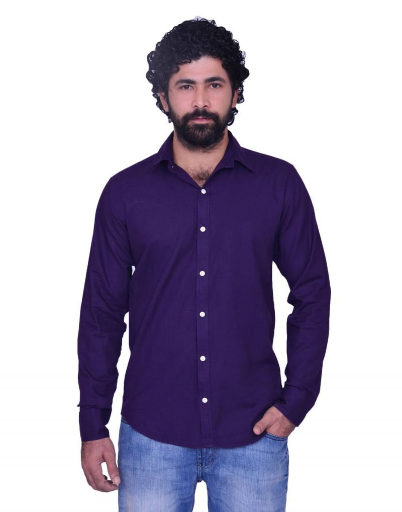 Buy Snoby Long Blue Colored Button Front Cotton Shirt online