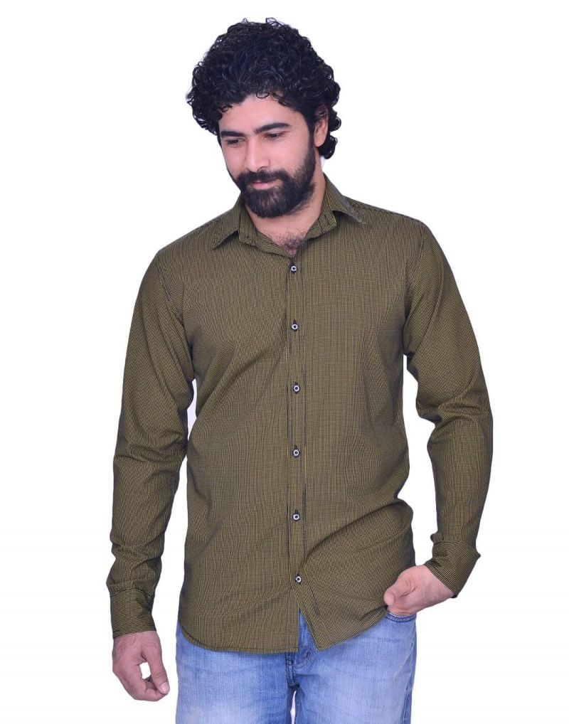 Buy Snoby Long Olive Green Colored Button Front Cotton Shirt (sby8003) online