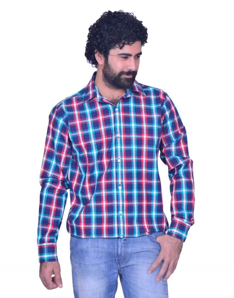 Buy Snoby Long Cotton Shirt In Blue Plaid Print (sby8006) online