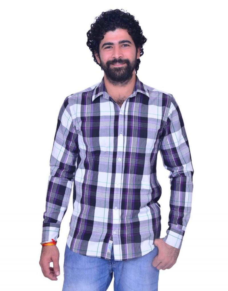 Buy Snoby Mens Plaid Cotton Shirt In White And Blue online