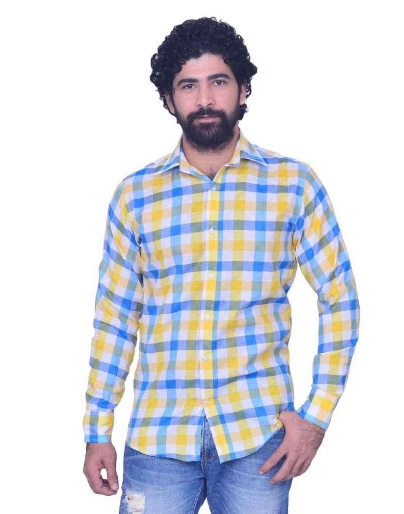Buy Snoby Mens Casual Plaid Cotton Shirt In Yellow, White And Sky Blue online