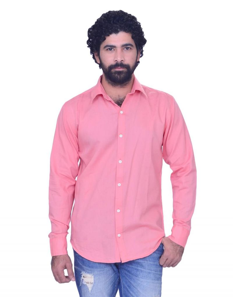 Buy Snoby Mens Casual Cotton Shirt In Bright Pink (sby8015) online