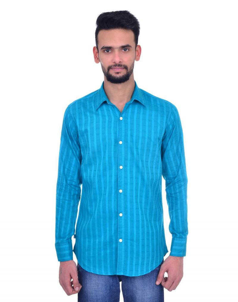 Buy Snoby Striped Cotton Shirt In Light Blue (sby8026) online
