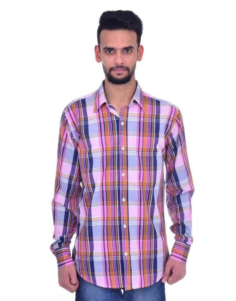 Buy Snoby Plaid Cotton Shirt In Multi Color (sby8029) online