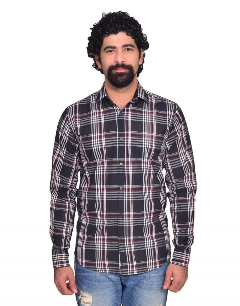 Buy Snoby Black & Grey Check Cotton Shirt (sby8032) online