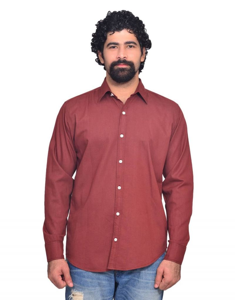 Buy Snoby Maroon Regular Fit Cotton Shirt online
