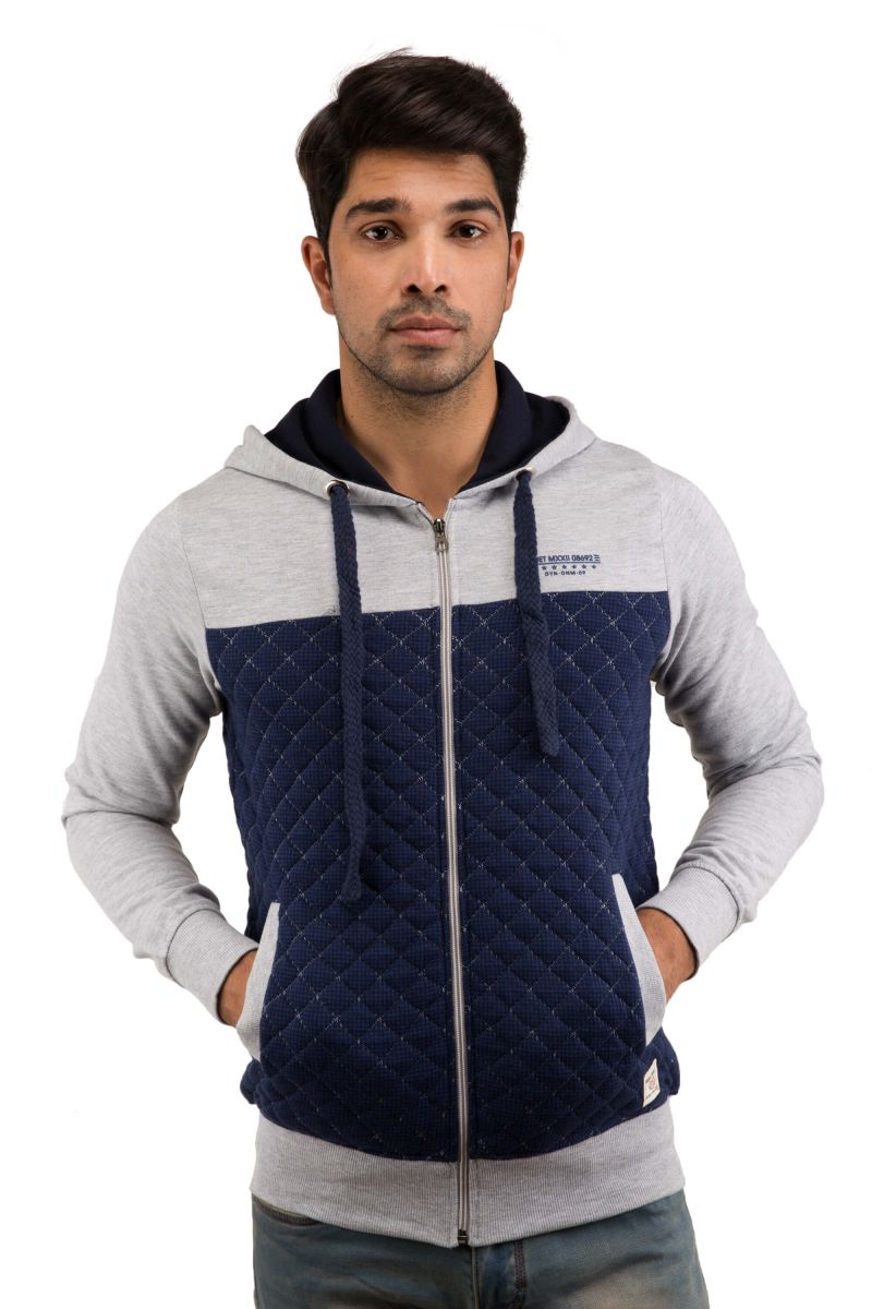 Buy Snoby Light Grey & Blue Color Hood Jacket (sby9033) online