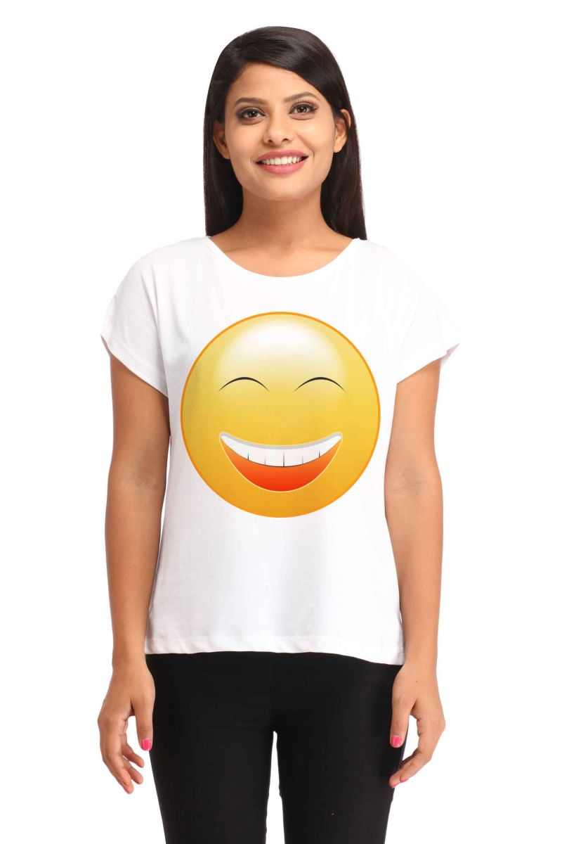 Buy Snoby Laughing Smiley Printed T-shirt (sbypt1698) online