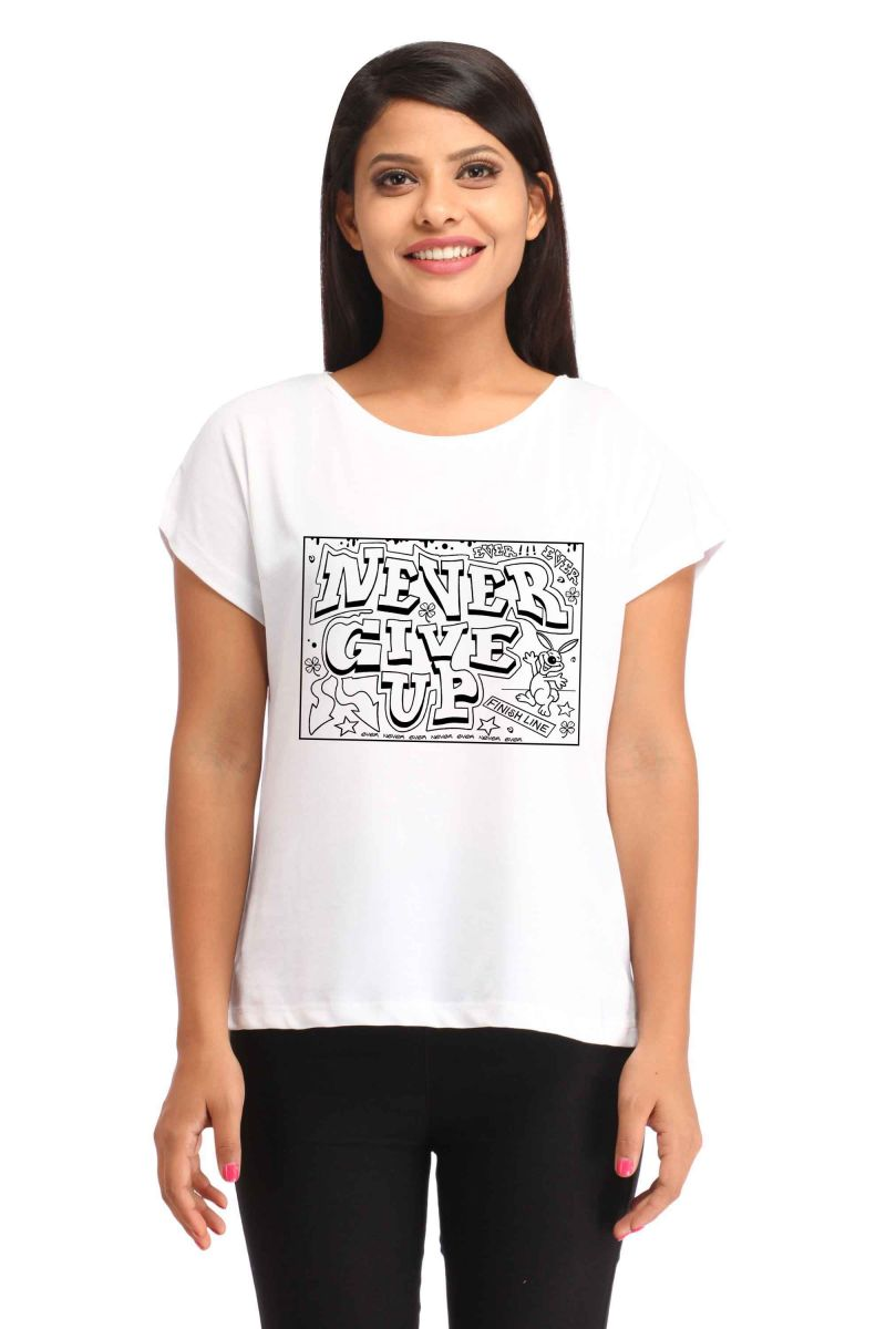 Buy Snoby Never Give Up Print T-shirt (sbypt1834) online