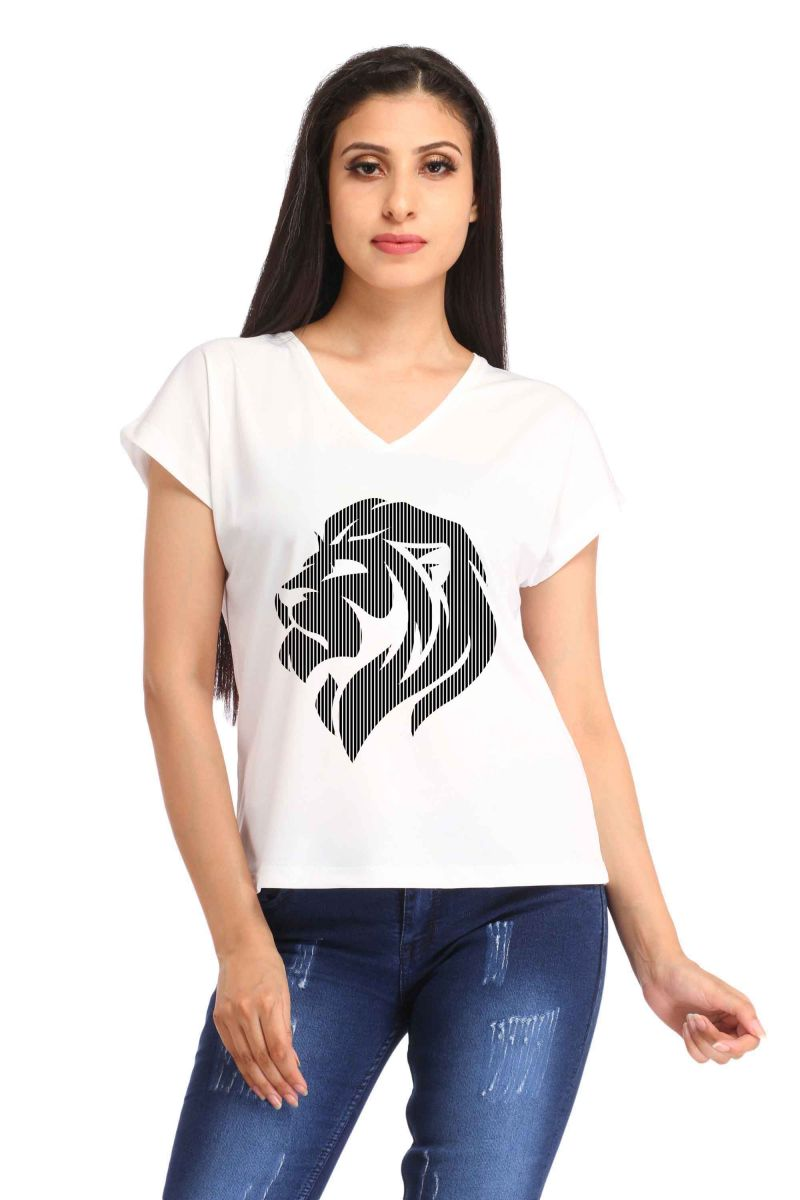 Buy Snoby Side Face Lion Print T-shirt (sbypt1891) online