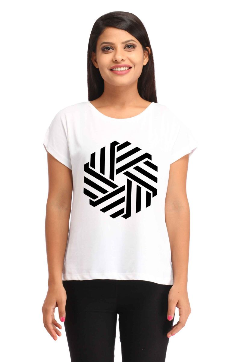 Buy Snoby Striped hexagon print t-shirt online