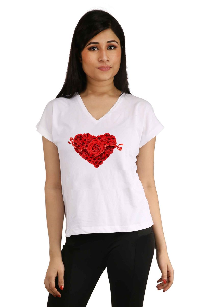 Buy Snoby Heart With Rose Printed T-shirt (sbypt2043) online