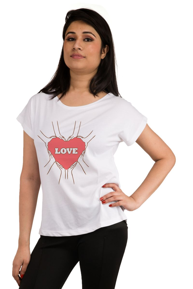 Buy Snoby Love With Heart Printed T-Shirt online