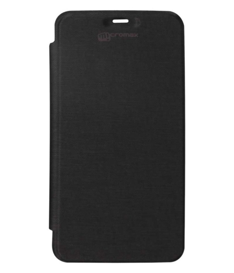 Buy Snoby Artificial Leather Flip Cover For Micromax Bolt Supreme 2 Q301 (black) (setm_193) online
