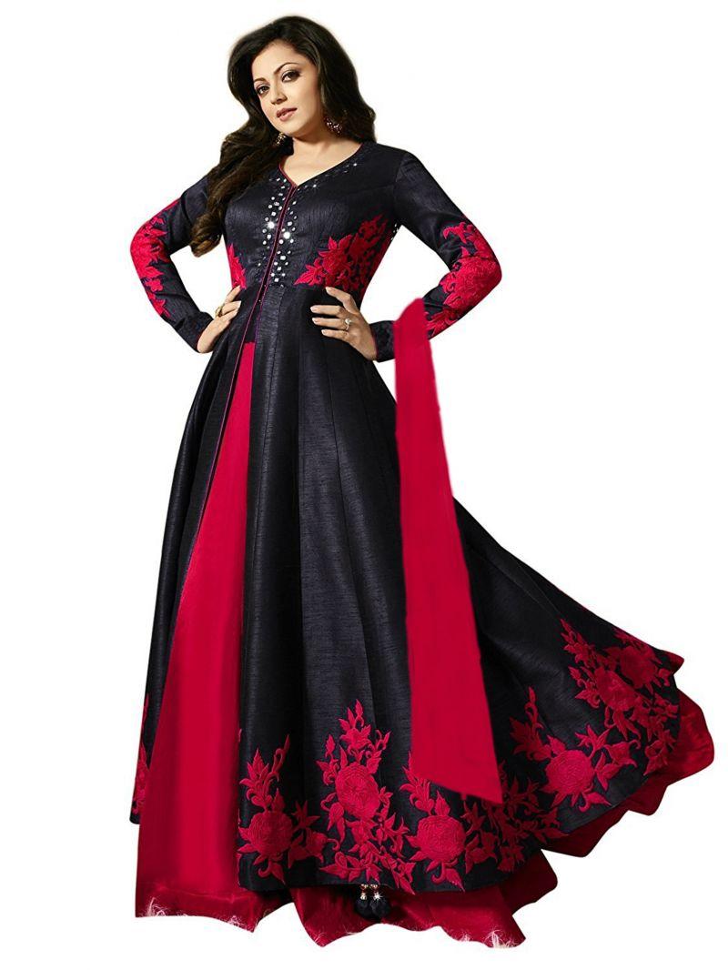 Buy Fashionuma Designer Banglory Silk Embroidered Anarkali Semi Stitched Indowestern Suit online