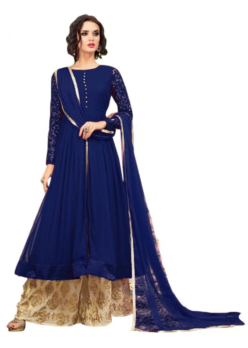 Buy Fashionuma Designer Georgette Embroidered Anarkali Indowestern Sharara Suit online