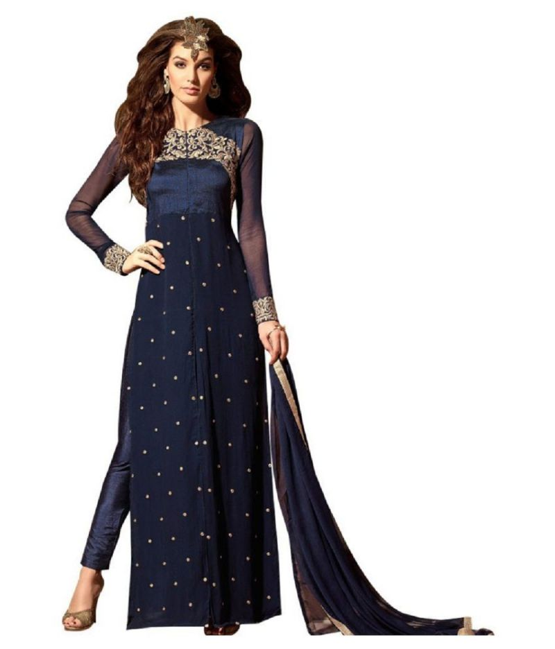 Buy Fashionuma Indian Stylish Designer Gerogette Embroidered Straight Salwar Suit F1069 online