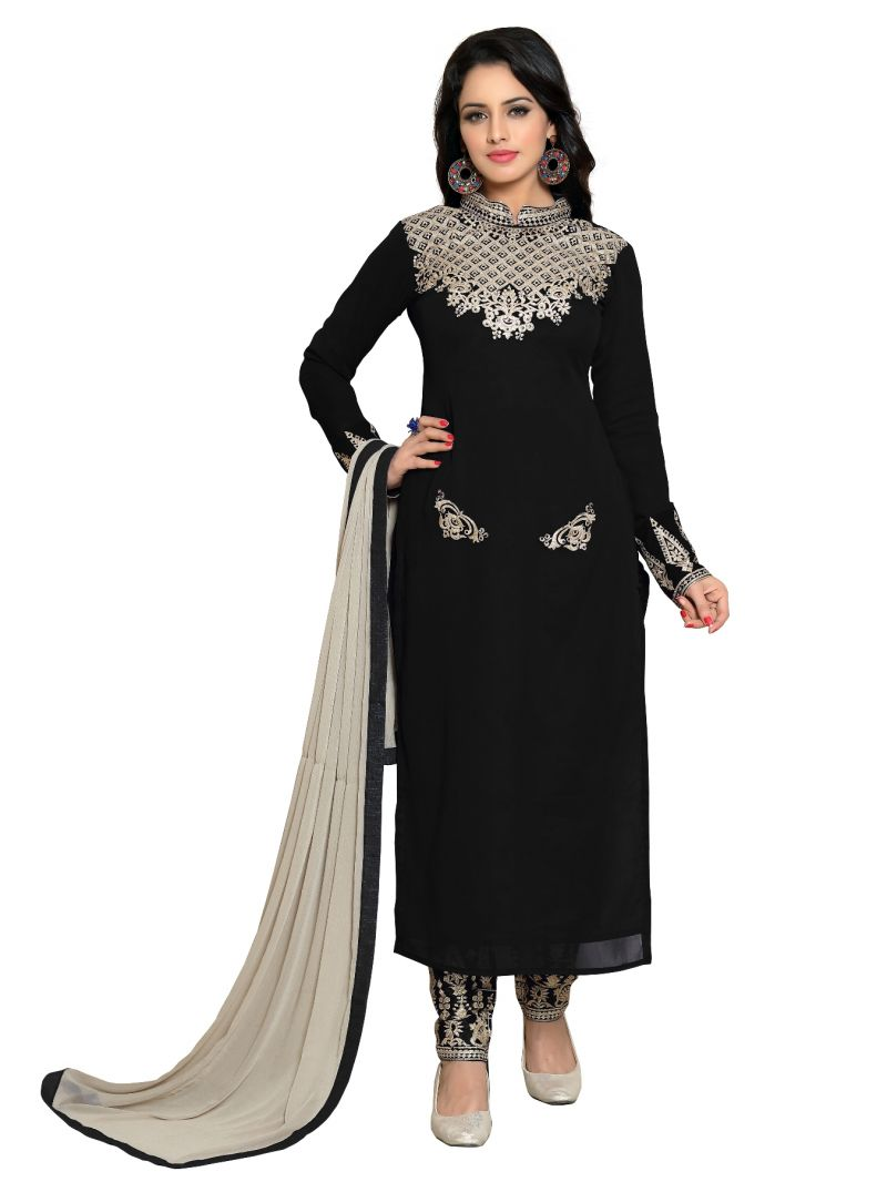 Buy Fashionuma Party Wear Black Georgette Embroidred Stright Salwar Suit (code - Fu1_f1113) online