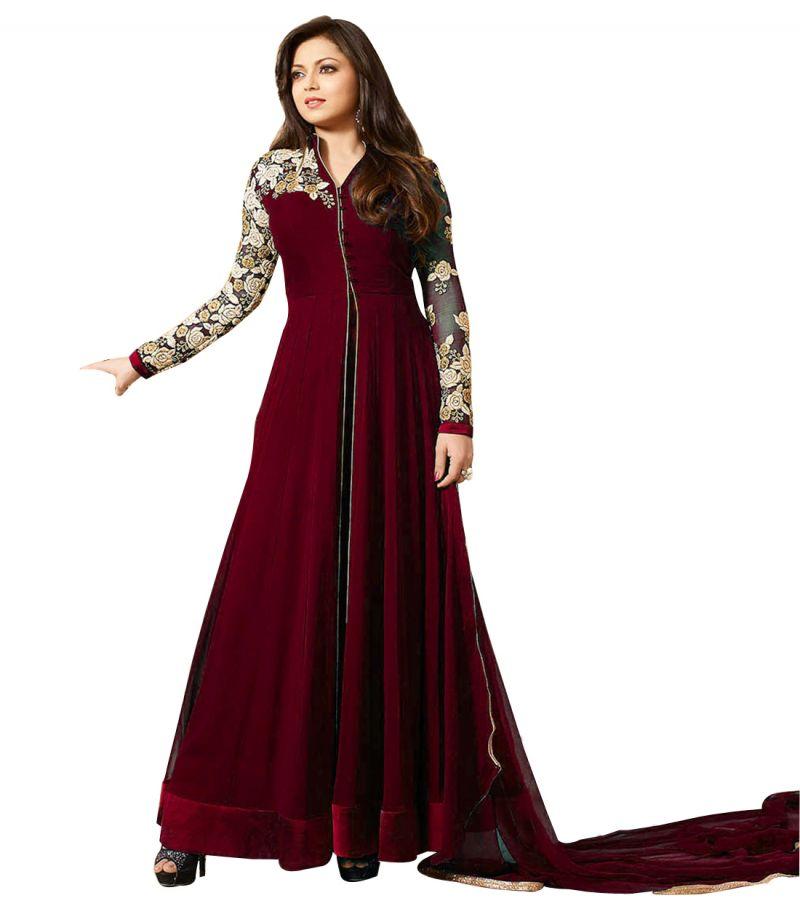 Buy Fashionuma Designer Georgette Embroidered Anarkali Semi Stitched Salwar Suit Bipo-18 online