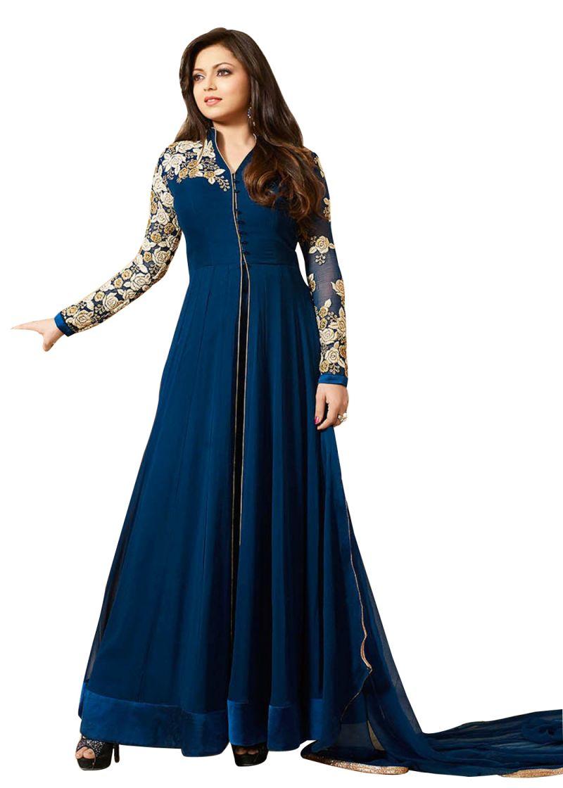 Buy Fashionuma Designer Georgette Embroidered Anarkali Semi Stitched Salwar Suit Bipo-19 online