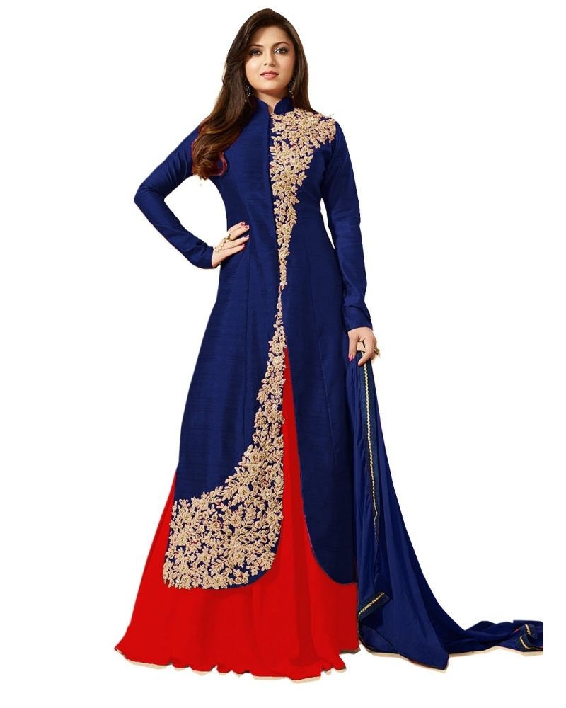Buy Fashionuma Stylish Designer Banglory Silk Embroidered Anarkali Indowestern Suit online