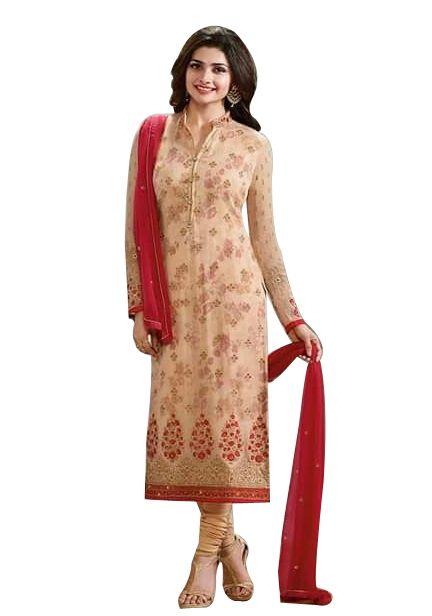 Buy Fashionuma Designer Satin Embrodered Semi Stitched Bollywood Replica Salwar Suit Shiv-835 online