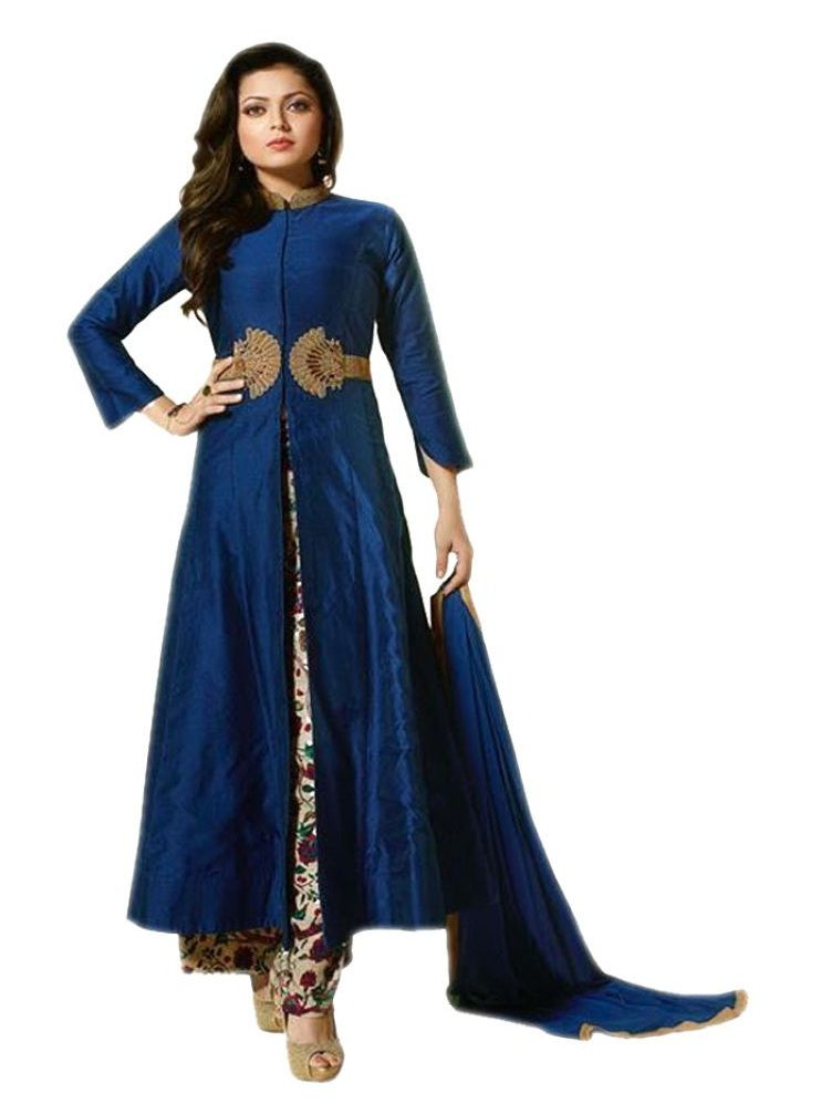 Buy Fashionuma Designer Chanderi Embroidered Anarkali Semi Stitched Salwar Suit Shiv-839 online