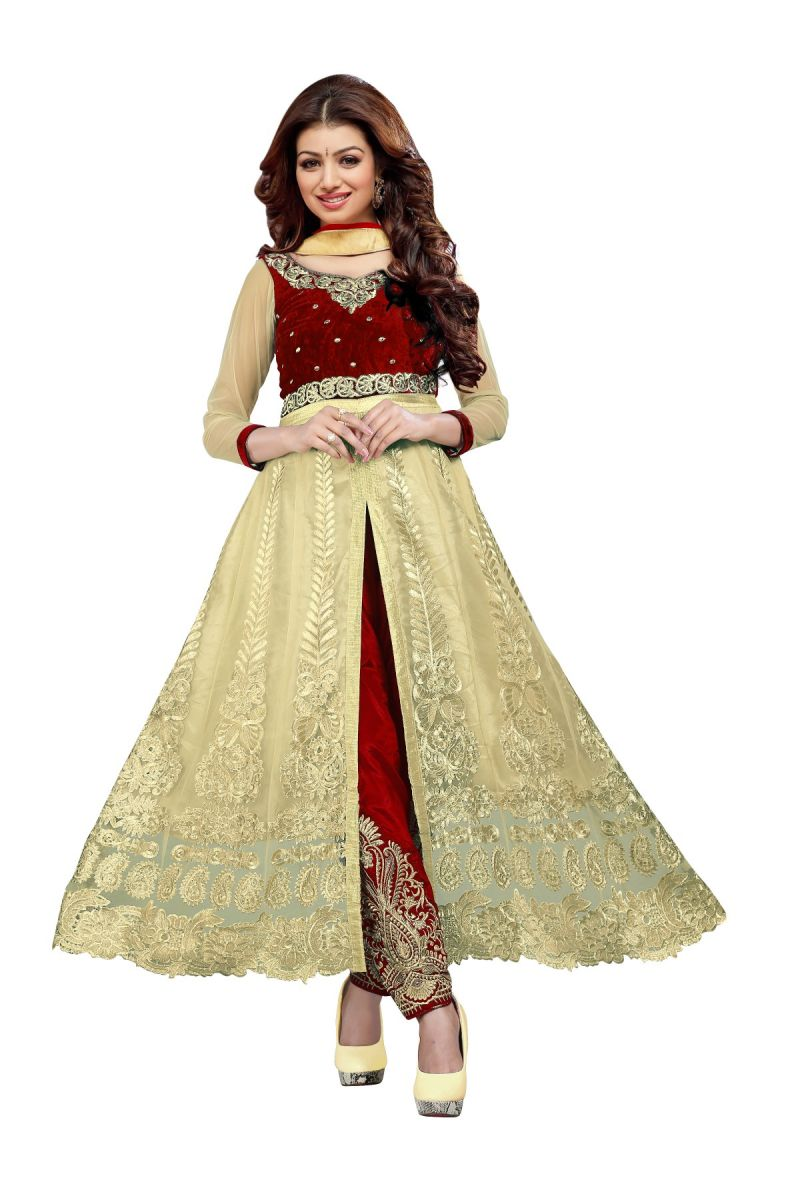 Buy Fashionuma Bollywood Designer Golden Red Net Plazzo Salwar Suit Ayesha_red online
