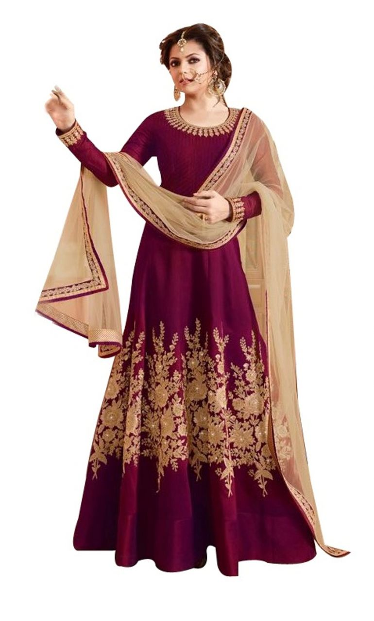 Buy Fashionuma Bollywood Designer Banglory Silk Anarkali Salwar Suit online