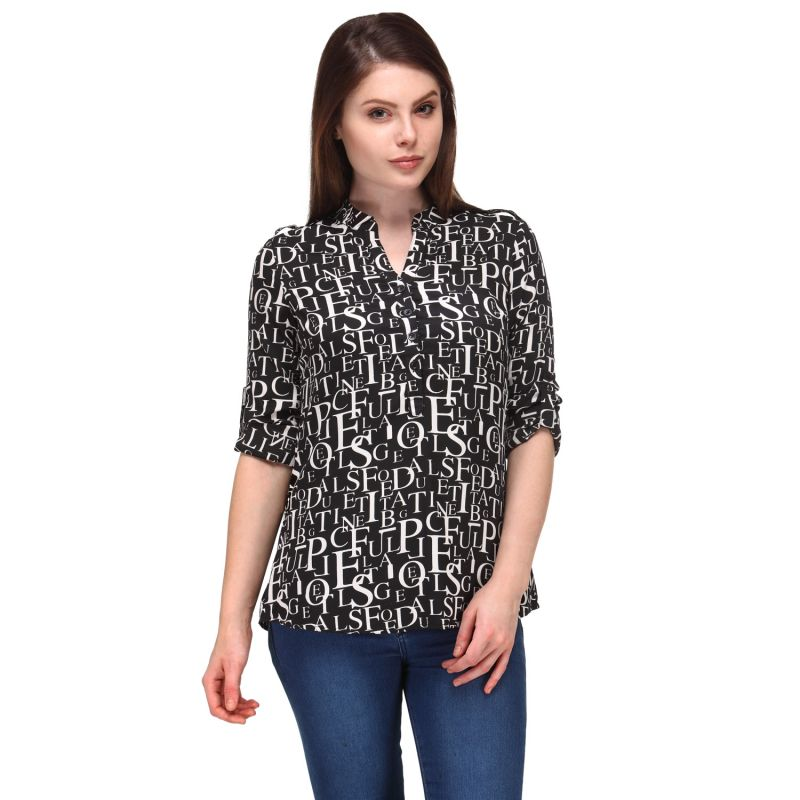 Buy Lefashionelle Crepe Soft Fabric, Regular Fit Printed Western Top For Women's & Girl's (multi Coloured) online