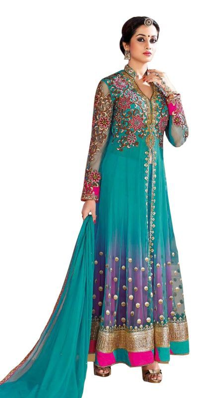 Buy Sargam Fashion Embroidered Light Blue Net Fashion Shervani Style Party Wear Semi-stitched Suit online