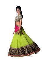Buy Surat Tex Green Embroidered Lehenga Choli With Silk Blouse online